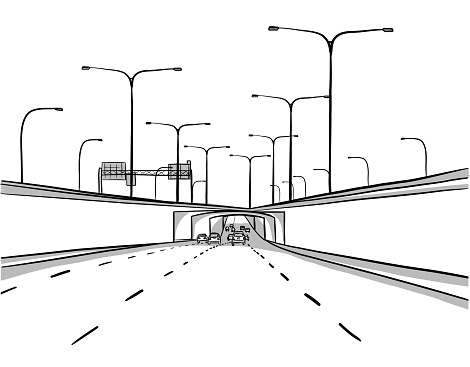 A head on view of a highway underpass