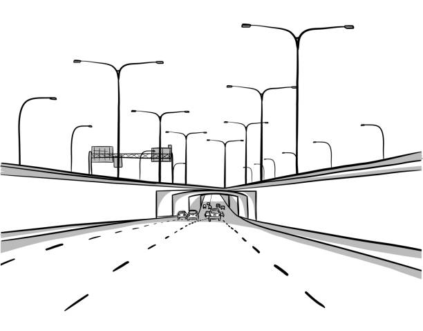 City Street Underpass vector art illustration
