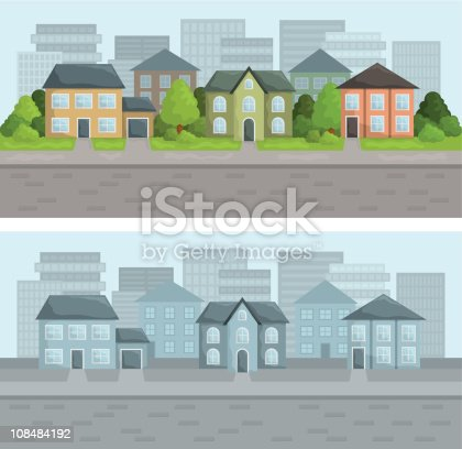 Illustration of city street in residential district. 2 color versions. All objects are layered and easy changeable.