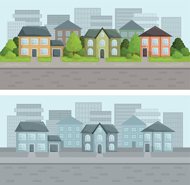 центральная улица - иллюстрации на тему архитектура stock illustrations