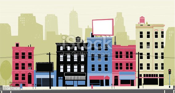 Buildings from a commercial district on a retro style.