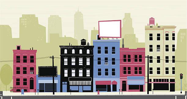 stockillustraties, clipart, cartoons en iconen met city street - stoep