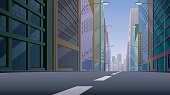 City street background illustration. Basic (linear) gradients used. No transparency.