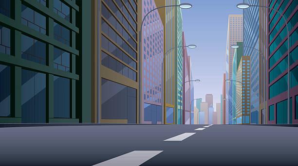 目抜き通りの - 漫画の風景点のイラスト素材/クリップアート素材/マンガ素材/アイコン素材
