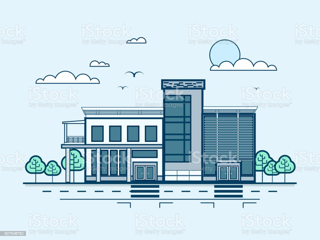 city street with administrative building, modern architecture in line style vector art illustration