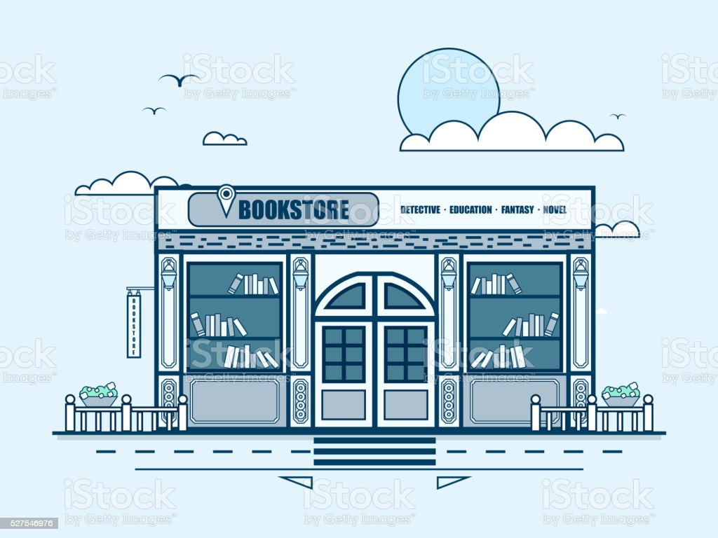 city street with bookstore, bookshop, modern architecture in line style vector art illustration