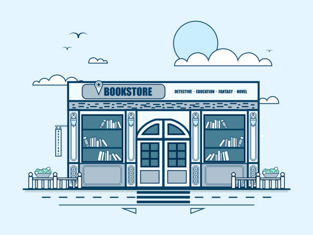 city street with bookstore, bookshop, modern architecture in line style - sale stock illustrations