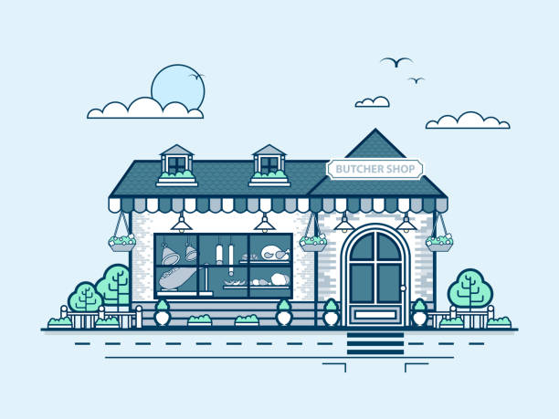 city street with butcher shop in line style - sale stock illustrations