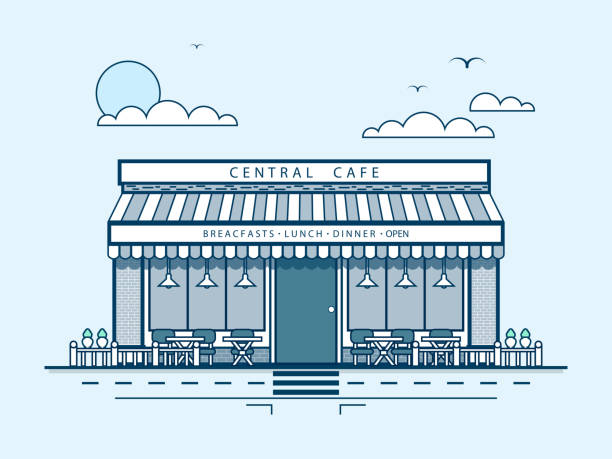 city street with central cafe, modern architecture in line style - sale stock illustrations