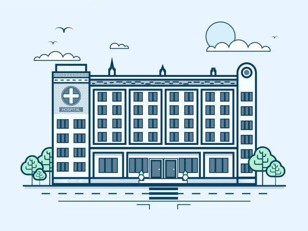 city street with contemporary multistorey hospital, modern architecture in line - sale stock illustrations