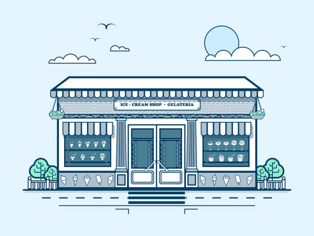 city street with ice-cream cafe, modern architecture in line - sale stock illustrations