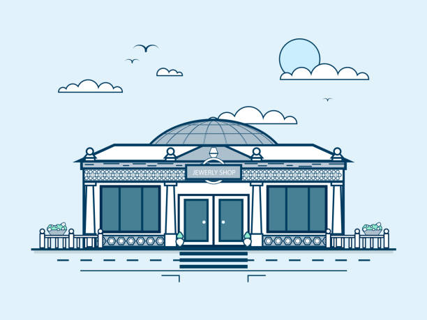 city street with jewelry shop, modern architecture in line style - sale stock illustrations