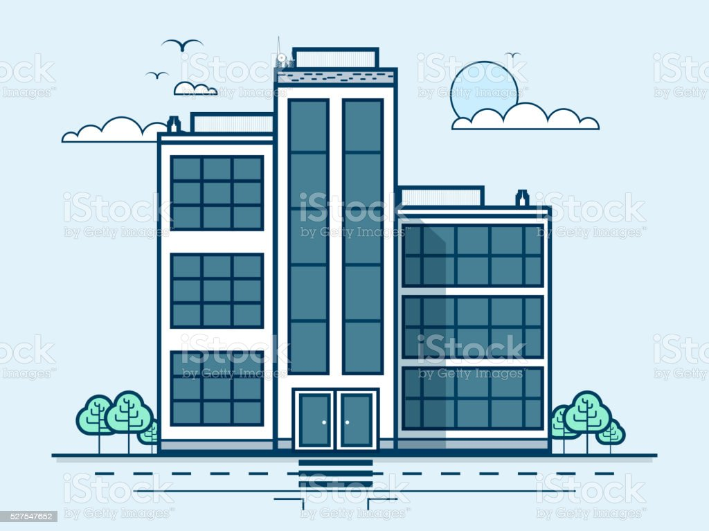 city street with office buildings, administrative building, modern architecture in vector art illustration