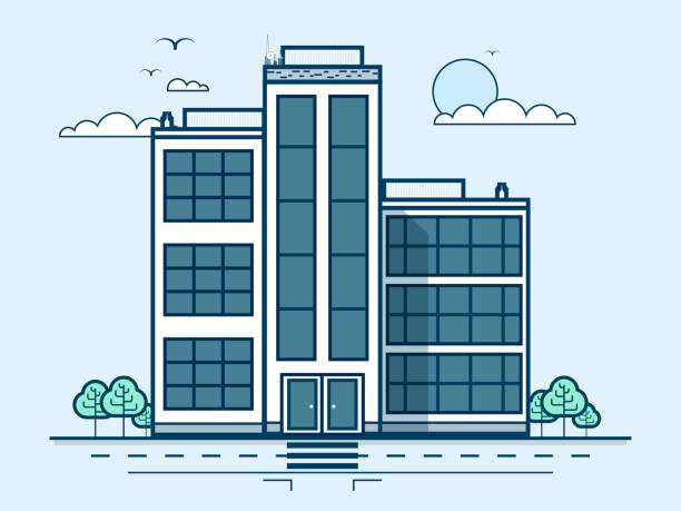 city street with office buildings, administrative building, modern architecture in - sale stock illustrations