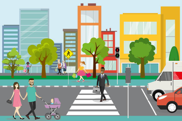 illustrazioni stock, clip art, cartoni animati e icone di tendenza di city street with pedestrians and road with transport, - marciapiede