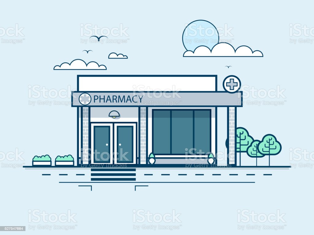 city street with pharmacy, modern architecture in line style vector art illustration