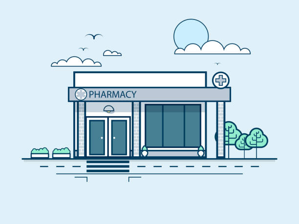 city street with pharmacy, modern architecture in line style Stock vector illustration city street with pharmacy, modern architecture in line style element for infographic, website, icon, games, motion design, video salé morocco stock illustrations
