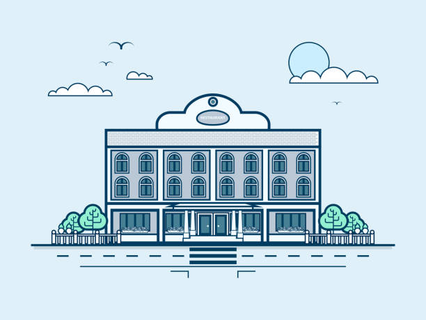 city street with restaurant, modern architecture in line style - sale stock illustrations