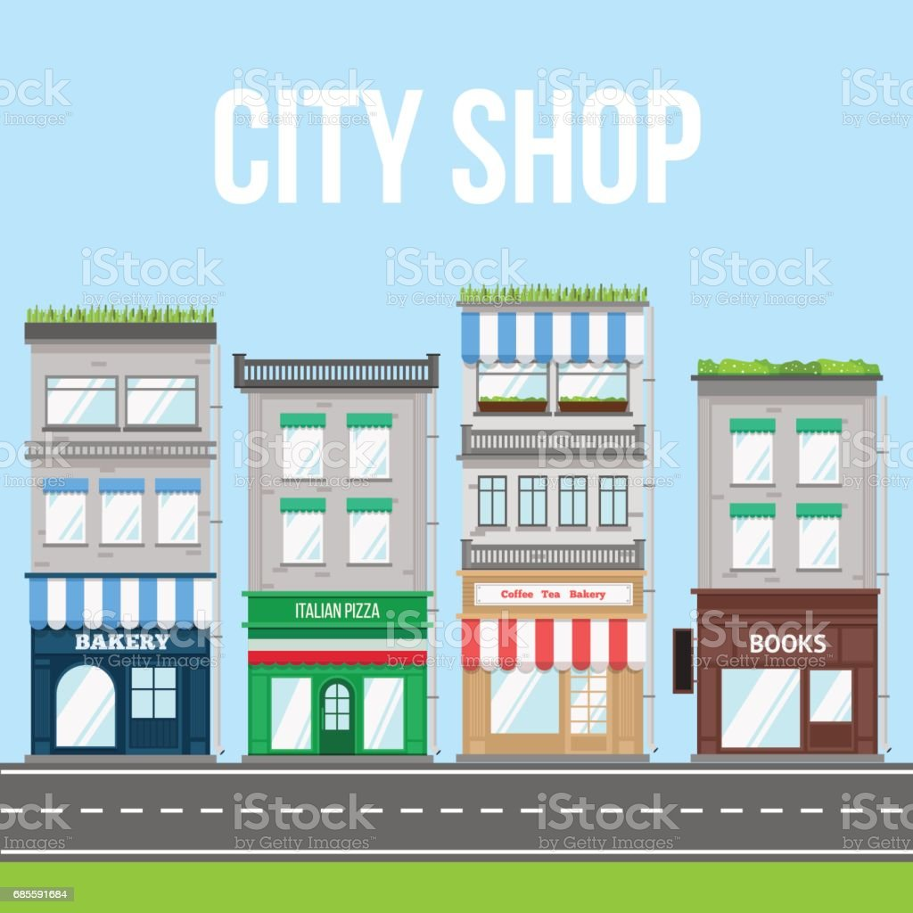 City street with shop, pizza cafe and bakery. 免版稅 city street with shop pizza cafe and bakery 向量插圖及更多 交通 圖片