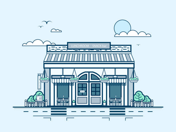 city street with snack bar, bistro, lunch room, modern architecture - sale stock illustrations