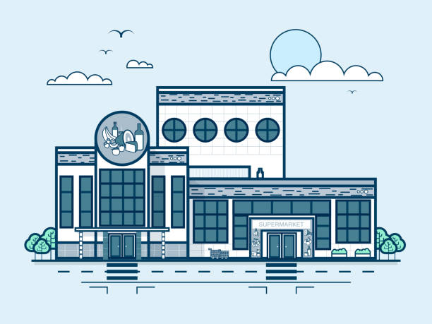 city street with supermarket, grocery store, modern architecture in line - sale stock illustrations