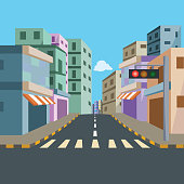 City Street with Traffic Signal Background - Cartoon Vector Image