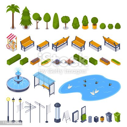 City streets and public park 3d isometric design elements. Vector urban outdoor landscape icons. Green trees, benches, lampposts, garbage containers, billboards isolated on white background.