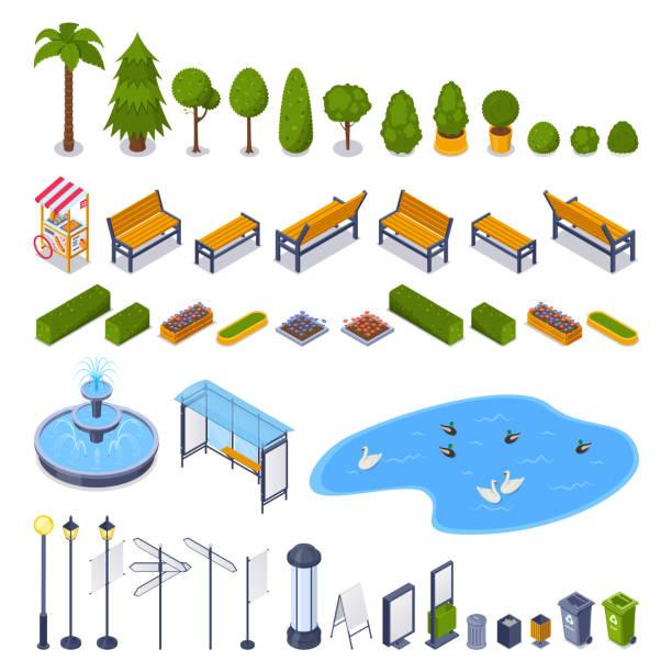 ulice miasta i park publiczny 3d izometryczne elementy konstrukcyjne. wektorowe miejskie ikony krajobrazu na świeżym powietrzu. - staw woda stojąca stock illustrations