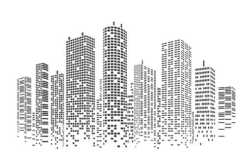City stylized background clipart
