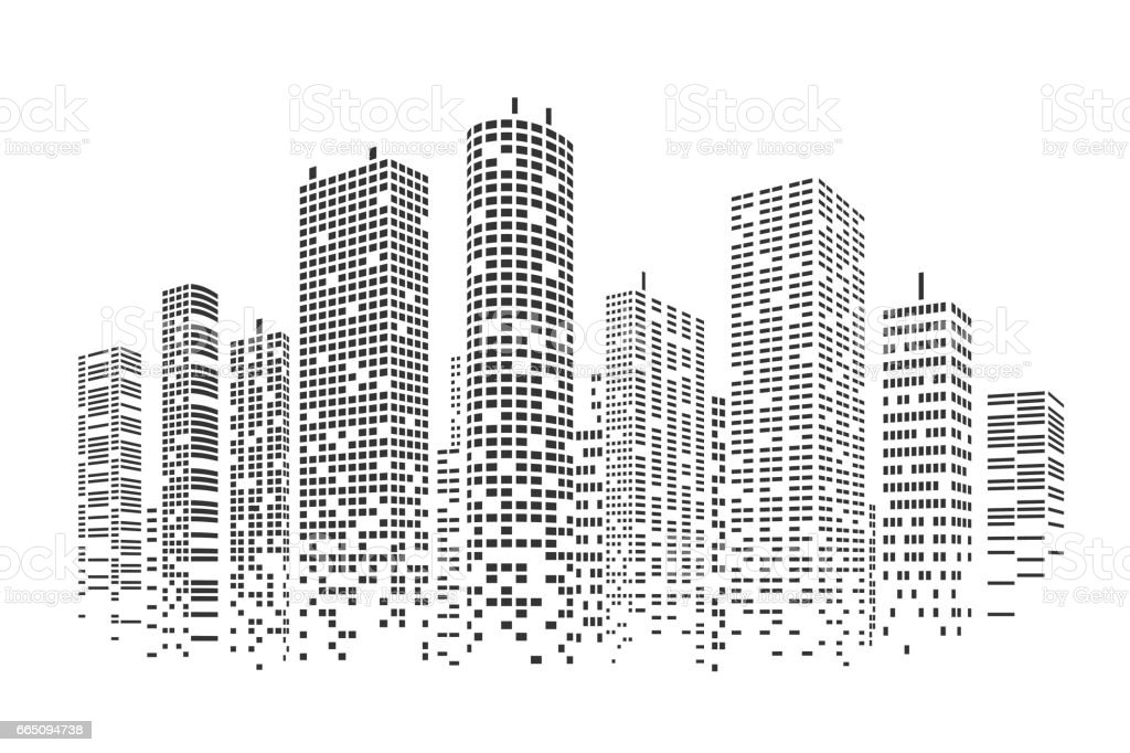 City stylized background vector art illustration