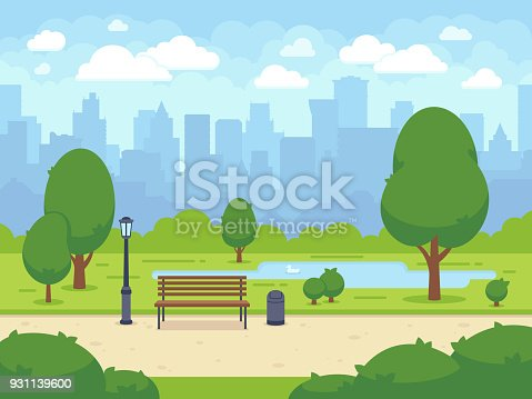City summer park with green trees bench, walkway and lantern. Town and city park landscape nature. Cartoon vector illustration