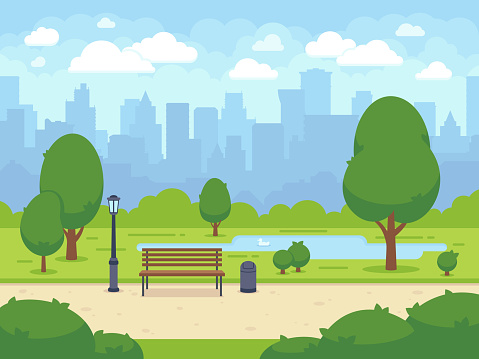 City summer park with green trees bench, walkway and lantern. Cartoon vector illustration clipart