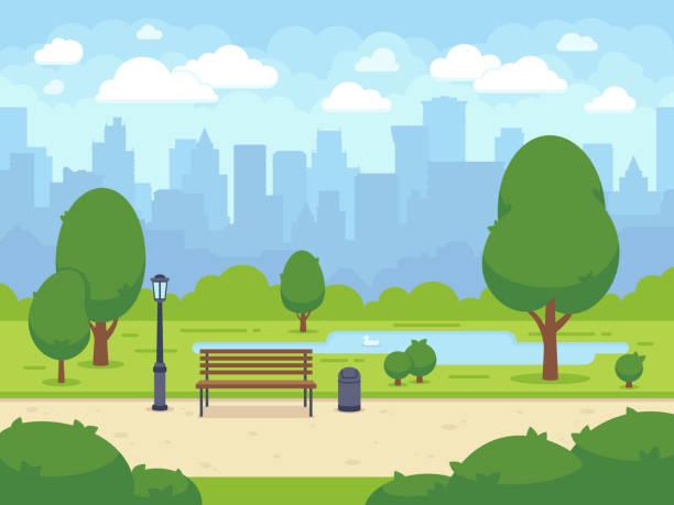 ilustrações, clipart, desenhos animados e ícones de parque da cidade verão com banco de árvores verdes, passarela e lanterna. ilustração em vetor dos desenhos animados - exterior