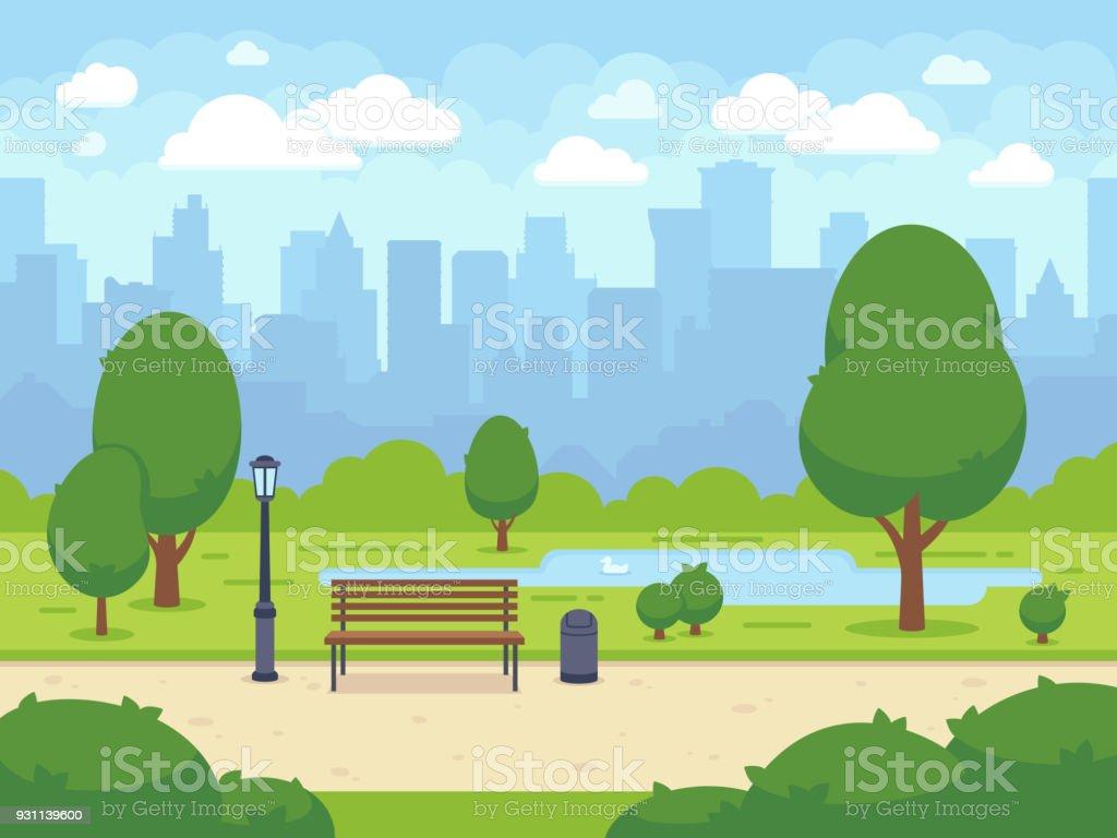 City summer park with green trees bench, walkway and lantern. Cartoon vector illustration vector art illustration