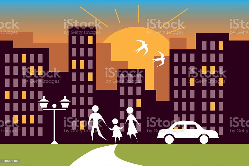 city sunrise and family - Royaltyfri 2015 vektorgrafik