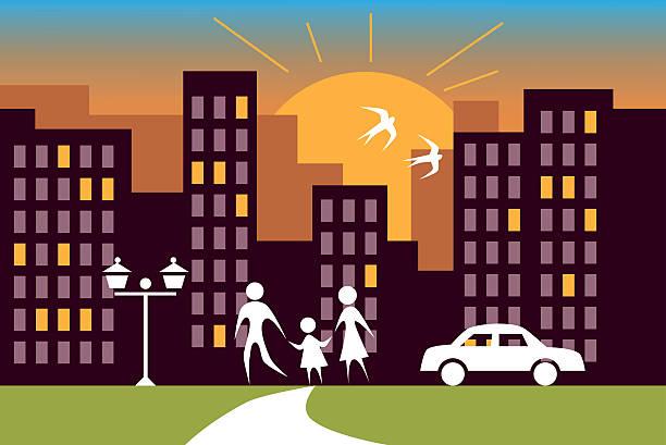 bildbanksillustrationer, clip art samt tecknat material och ikoner med city sunrise and family - walking home sunset street