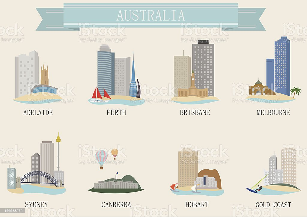 City symbol. Australia vector art illustration