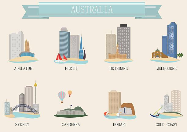 city symbol. australia - melbourne stock illustrations