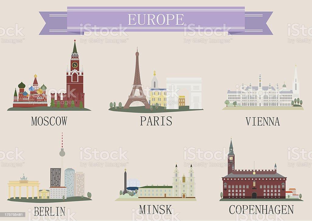 City symbol. Europe vector art illustration