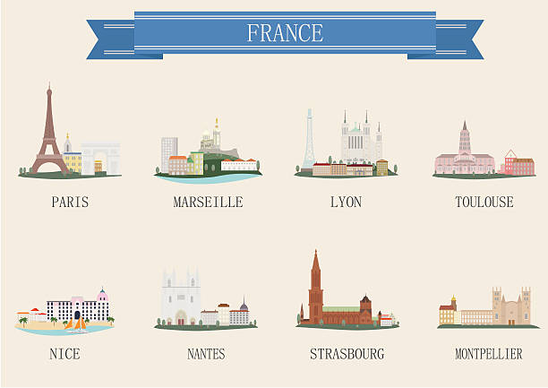 illustrations, cliparts, dessins animés et icônes de symbole de la ville. la france - marseille