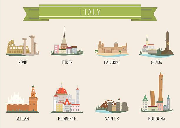 illustrazioni stock, clip art, cartoni animati e icone di tendenza di simbolo della città. l'italia - palermo città