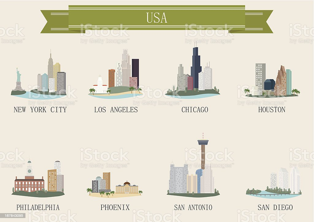 City symbol. USA vector art illustration