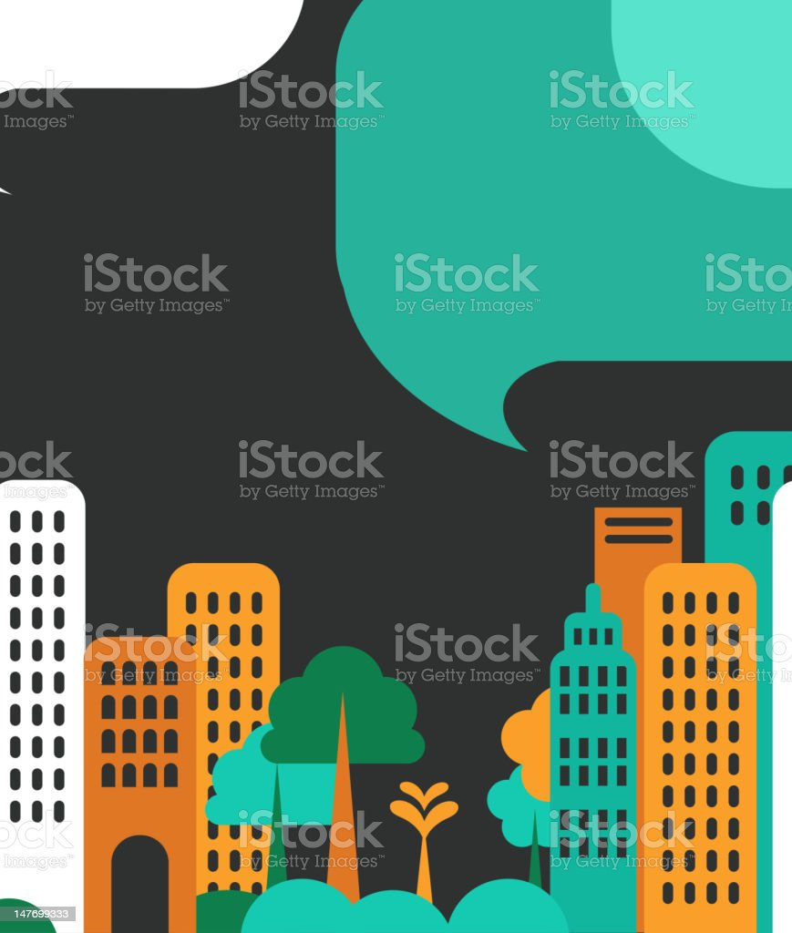 City talks, buildings and speech bubbles royalty-free stock vector art