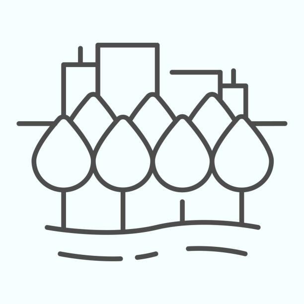 ilustrações de stock, clip art, desenhos animados e ícones de city thin line icon. town buildings vector illustration isolated on white. urban architecture outline style design, designed for web and app. eps 10. - isolated house, exterior