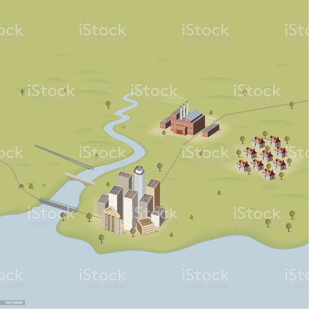 City, Town and Factory vector art illustration