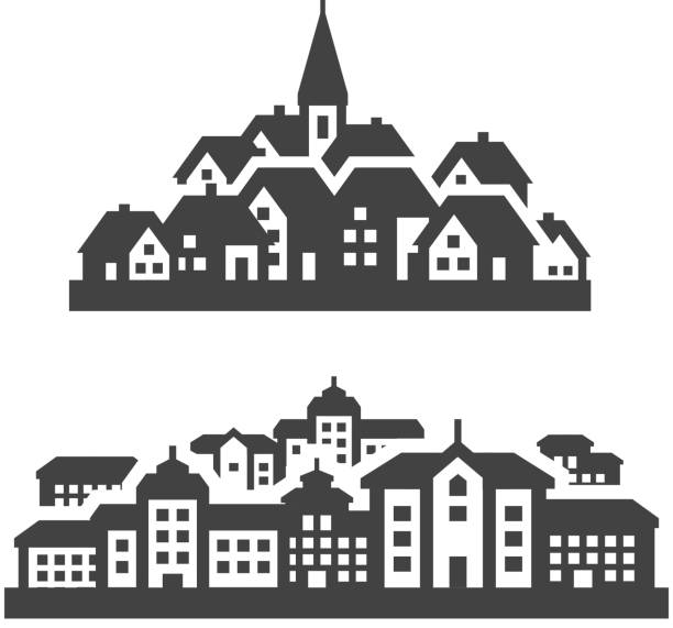 city, town icons set. signs and symbols city. Set of icons on a white background. vector illustration village stock illustrations
