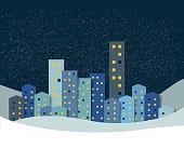 City, town night winter snow panorama. Christmas Background.