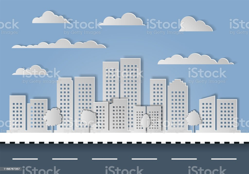 City Town Paper Cut On White Background Architecture Modern ...