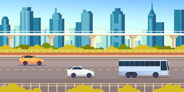 City town road highway transport horizontal concept vector flat graphic design flat illustration vector art illustration