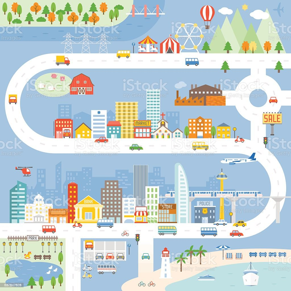 City, Town, Village info graphic, Vector illustration. vector art illustration